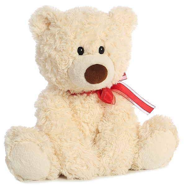 Honey Teddy Bear With Red Ribbon