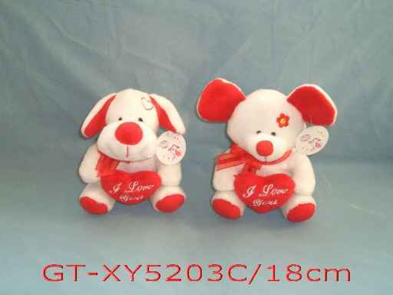 Valentine Plush Dog & Mouse With Heart